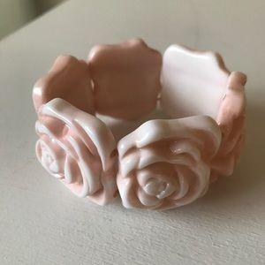 Chunky Pink Rose Bracelet
